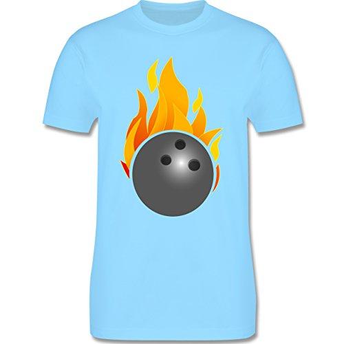 Bowling & Kegeln - Bowling Ball Flammen bunt - Herren Premium T-Shirt Hellblau