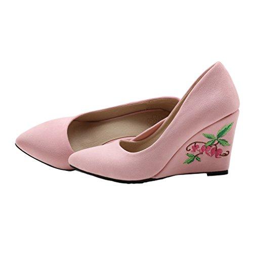 ENMAYER Femmes Le Daim Glisse Sur Talons De Chaussures Occasionnel Fait Coin Broderie Chaussures Cétro Rose#