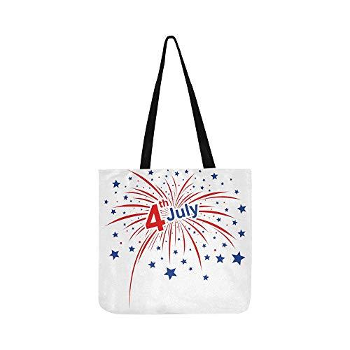 Juli Amerikanischen Unabhängigkeit Leinwand Tote Handtasche Schultertasche Crossbody Taschen Geldbörsen Für Männer Und Frauen Einkaufstasche ()