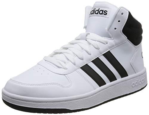 adidas Herren Hoops 2.0 Mid Fitnessschuhe, Weiß (Ftwbla Negbás 000), 42 2/3 EU - Aus Basketball-schuhe