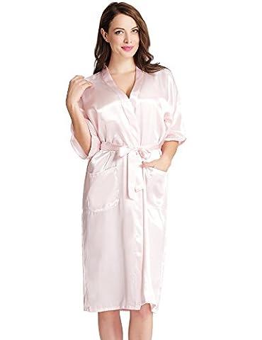 Aibrou Femmes satinée peigRose clair longue long robe Chemise de nuit chambre kimono coquet et féminin nuisette confortable Satin un goût Japon (Rose clair,L )