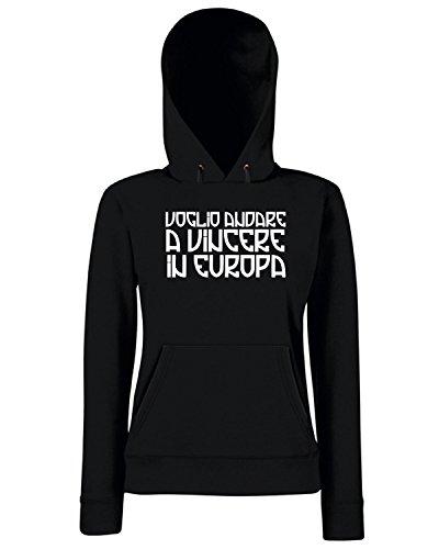 T-Shirtshock - Sweats a capuche Femme TUM0199 voglio andare a vincere in europa Noir