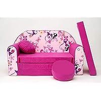 Pro Cosmo H10Enfants Canapé-Lit avec Pouf/Repose-Pieds/Oreiller, Tissu, Rose, 168x 98x 60cm