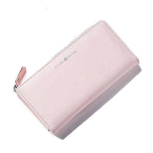 Portafoglio Donna - Borse in pelle di Cuoio delle Donne in PU borse Portafoglio Portafoglio Lungo in Lana Frizione (Rosso) Rosa