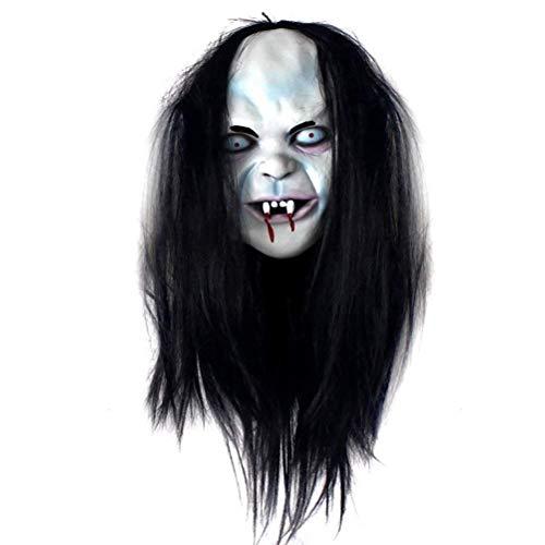 (ABLUD Grimasse Maske Halloween Horror Lange Perücke Haar Sadako Perücke Gruselige Scary Kostüm Kopfbedeckung Für Party Supply)