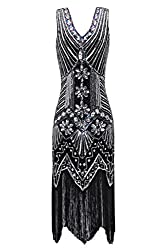 Metme Women's 1920s V Neck Beaded Fringed Gatsby Theme Flapper Dress For Prom (3xl, Black+silver)