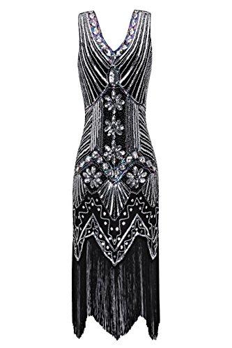 Metme Damen der 1920er Jahre V Ausschnitt Perlen Fransen Gatsby Thema Flapper Kleid für Abschlussball