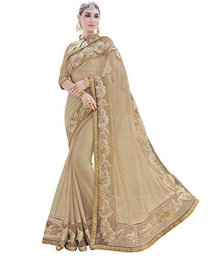 DesiButik\'s Gorgeous Beige Fancy Fabrics Net Saree