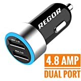 Regor [4.8Amp - 2 Port] High Speed Car Charger for all smartphones & tablets