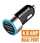 With 4.8A / 24W output, the REGOR Dual Port USB Car Charger can simultaneously charge two tablets or two smart phones at full speed.  It is easy to use and compatible with both Apple and Android devices and most other USB charging devices. (Qualcomm ...