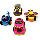 Akrobo Toy Friction Powered Cars Early Educational Toddler Baby Toy Push and Go Car, Helicopter, Plane, Train Vehicles Toys Gift for Kids (4 PCS)