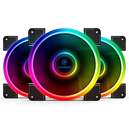anidees AI Aureola 140 mm RGB-Lüfter für Gehäuselüfter, CPU-Kühlerlüfter, Wasserkühler, 3er-Pack mit Fernbedienung - RGB (AI-AUREOLA14) -