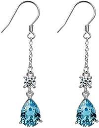 96f780183d76 Aroncent 2PCS Pendientes de Swarovski Elemento Cristal Azul Arete 925 Plata  de Ley Esterlina Colgante Largo