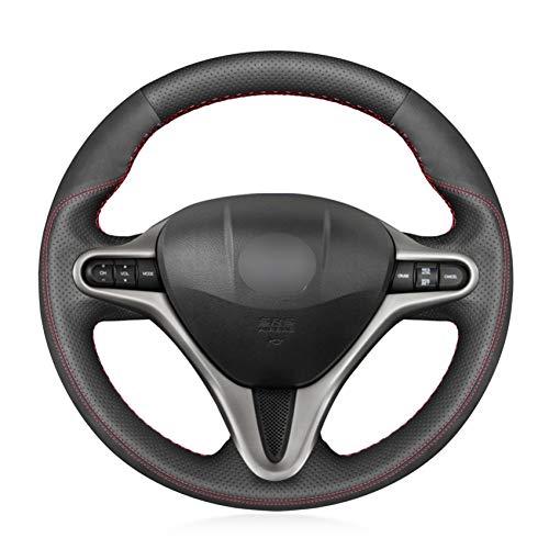 OPOPDLSA Coprivolante morbido antiscivolo in vera pelle nera per Honda Civic Civic 8 2006 2007 2008-2010 2011 (3 razze)