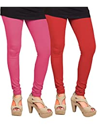 CAY 100% Cotton Combo of Baby Pink and Red Color Plain, Stylish & Most Comfortable Leggings For Girls & Women with Full Length (SIZE : Free Size)