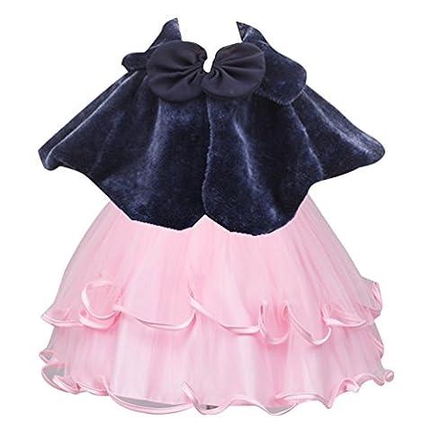 CHENGYANG Enfant Filles Demoiselles d'honneur Cape Mariage Fausse Fourrure Boléro Shrug (Bleu, L)