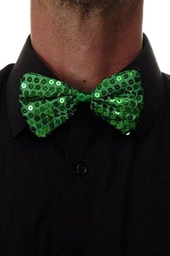 (DRESS ME UP Fliege Bowtie Pailletten paillettenbesetzt Glitzer Grün St. Patrick W-070GR-green)