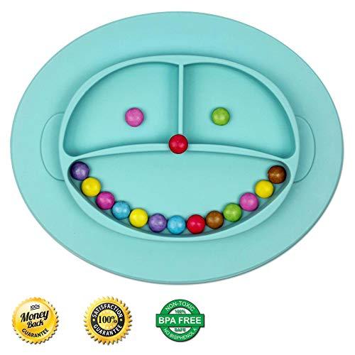 Babylovit BPA-freier und Rutschfester Kinder Teller – geprüfter Esslernteller mit Saugnapf - Essmatte - Ideal für Baby Led Weaning