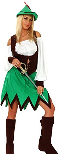 Robin-Hood Frauen-Kostüm, komplett 5-teilig, braun grün, 38-42 One Size One Size (Reiche Frau Halloween Kostüm)