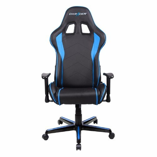 DXRacer OH/FL08/NBStuhl, Gepolsterte Sitzfläche, Gepolsterte Rückenlehne, PU Leder, Schwarz/Blau (Leder Rückenlehne Gepolstert Schwarz)