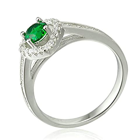 AMDXD Jewelry Silver Plated Wedding Bands for Women Heart Round Green CZ White Size L 1/2