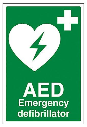 """vsafety 31034au-r""""AED Notfall Defibrillator"""" Erste Hilfe Allgemeine-Zeichen, starrer Kunststoff, Porträt, 200mm x 300mm, grün"""