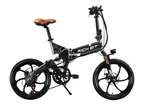 RICH BIT® RT 730 Bicicleta eléctrica Plegable 250 W * 48V 8Ah 7 velocidades de Color Gris y Negro