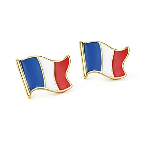 Neoglory Jewellery Or 14k Drapeau De La France Boucles d'Oreilles Percées Bijoux Unisexe En
