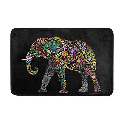 Alaza Paillasson pour intérieur ou extérieur Motif éléphant Indien Noir 60 x 40 cm