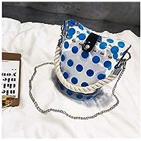 Mode Bolso Transparente Claro del totalizador del Punto de la Onda con 1 Bolso pequeño Bolso Comercial Color del Caramelo (Blanco) para niña Dama (Color : Azul, tamaño : 18x14x19cm)