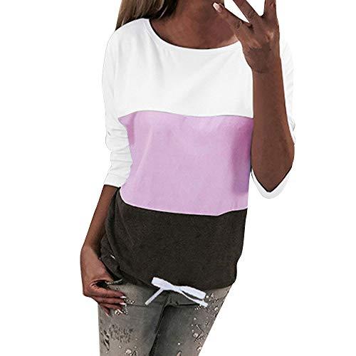 (Womens Casual Long Sleeve O Hals getäfelten Langen T-Shirts Tops Bluse  MYMYG Frauen Farbblock Getäfelten Langarm Casual Bluse Shirts O Neck Tops(Pink,EU:36/CN-M)