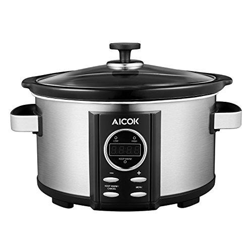 Aicok Slow Cooker | Schongarer | Premium Multikocher | Dampfgarer | 3,5 Liter | Digitaler Countdown-Timer Keramiktopf | Maximale Nährstoffe | Crock Pot | Gehärteter Glasdeckel | Edelstahl, Silber