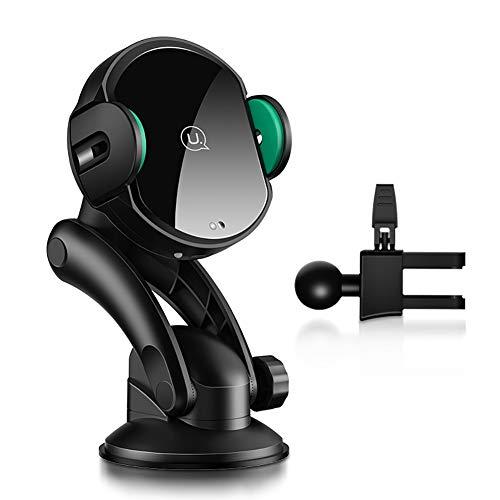 LSCZZJ Schnelles Drahtloses Kfz Ladegerät, Automatische Handyhalterung fürs Auto, 2 in 1 Wireless Car Charger mit IR Sensor für iPhone XS/X/XR Samsung Galaxy S8 4.5-6Zoll,Schwarz