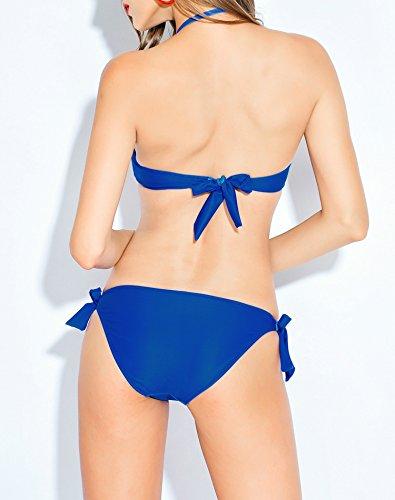 Damen Badeanzug Neckholder Push-up Blume Drucken Bademode Bikini-Sets Blau