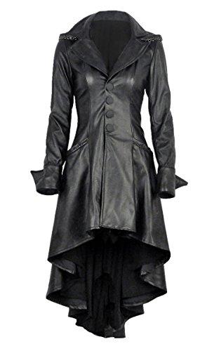 Lange Mantel Schwarz Kunstleder mit Gurte am Rücken und Kapuze Gothic Rock Gr. M, Schwarz - Schwarz