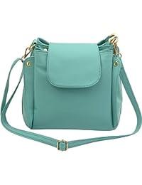 Deniza Pu Sling Bag For Women -Green Color