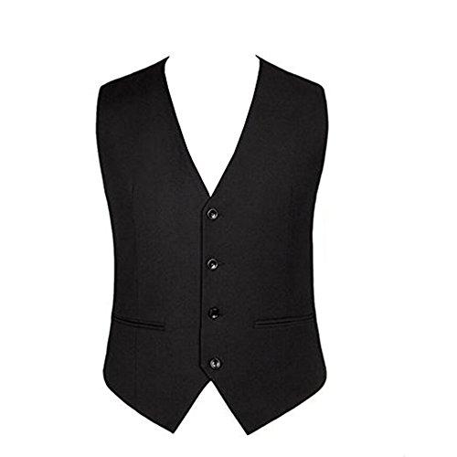 OMSMY Herren Weste Anzugweste Anzug-Weste Casual Business stilvoll feierlich Eng Geschnittenes Vest Einreiher Weste Schwarz Plus Size (4XL)