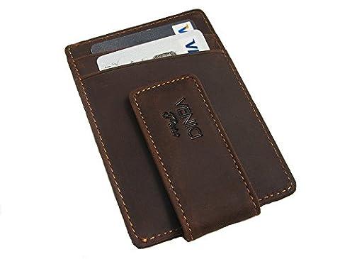 Pince à billets avec porte-cartes I Cuir Véritable I Portefeuille RFID fin avec pince magnétique I 6 cartes (marron)