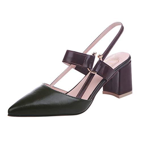 QIMANZI Schuhe Damen High Heels Mary Jane Pumps Slingback Spitz Kitten Heel Sandalen Grün 40 EU Mary Jane Slingback Pumps