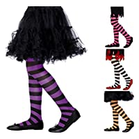 Girls Tights Stripe Design 5 Colours Fancy Dress 6/12 Years (Pink/Black)