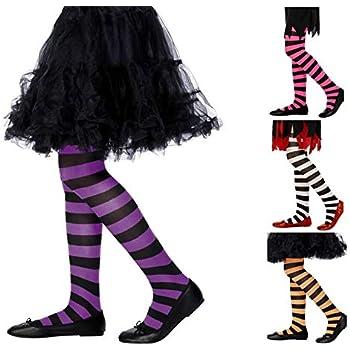 Girls Black White Stripe Striped Halloween Alice Tights Fancy Dress 6-12yrs