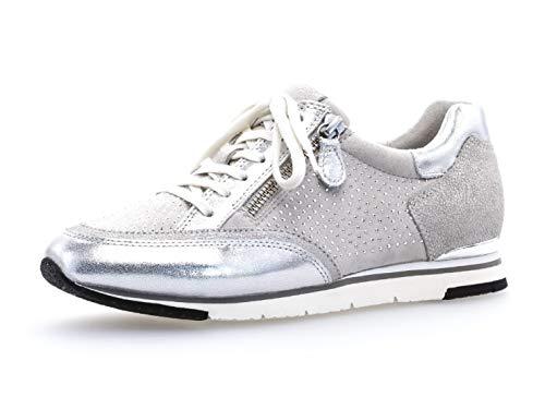 Gabor Damen Low-Top Sneaker 24.322, Frauen Sneaker Low,Halbschuh,Schnürschuh,Strassenschuh,Business,Freizeit,Ice/Argento/marmor,39 EU / 6 UK
