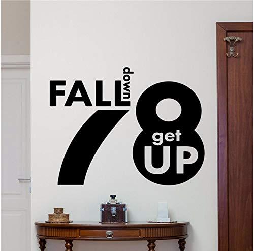 Lvabc 43X51Cm Fallen 7 Aufstehen 8 Zitat Wandtattoo Motivation Vinyl Aufkleber Dekor Wandbild (Einfach Aufstehen Für Halloween)