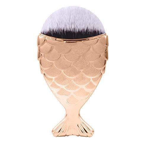 HHF Pinceaux à maquillage Fishtail Foundation Brush Fishscale Beauté Cheeks Blush Maquillage Outils Simple Échelle De Sirène Brosse De Maquillage 1 PC (Color : Jaune, Size : One Size)