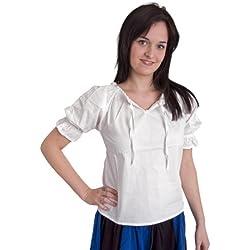 Ropa medieval - Blusa con encajes Luisa - blanco - M