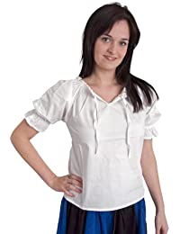 Medieval Costume - White Blouse Louisa - Short Sleeves