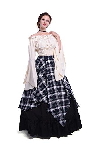 Damen mittelalterliche viktorianischen Schulter Vintage Kleid Königin Kostüm Top und (Viktorianische Kostüme Prinzessin)