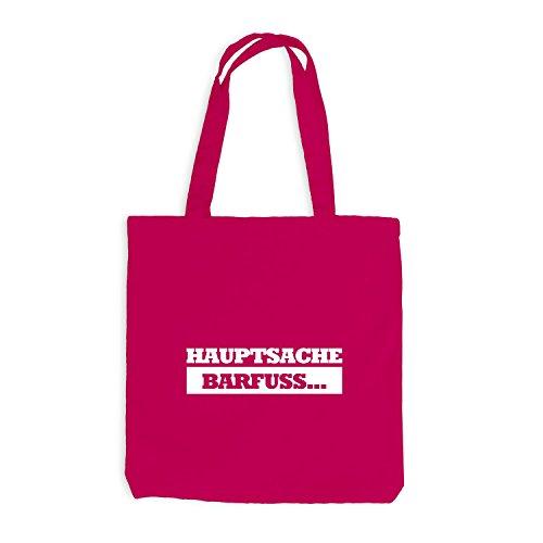 Jutebeutel - Hauptsache Barfuss - Fun Festival Pink