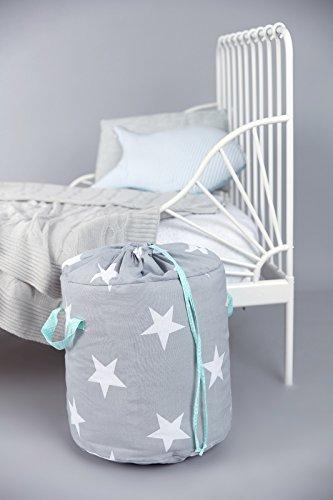 *KraftKids Spielzeugkorb große weiße Sterne auf Grau/weiße Punkte auf Mint*