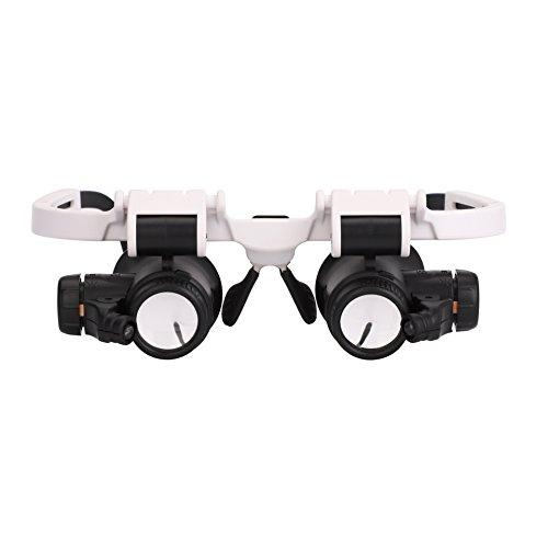 Lupenbrille mit Beleuchtung Kopflupe Verstellbare Brillenlupe Leselupe 8x bis 23x Vergrößerungsbrille mit LED Lupe Sehhilfe für Miniatur Gravur Juweliere Reparatur Handwerk Stirnlupe Lesehilfe